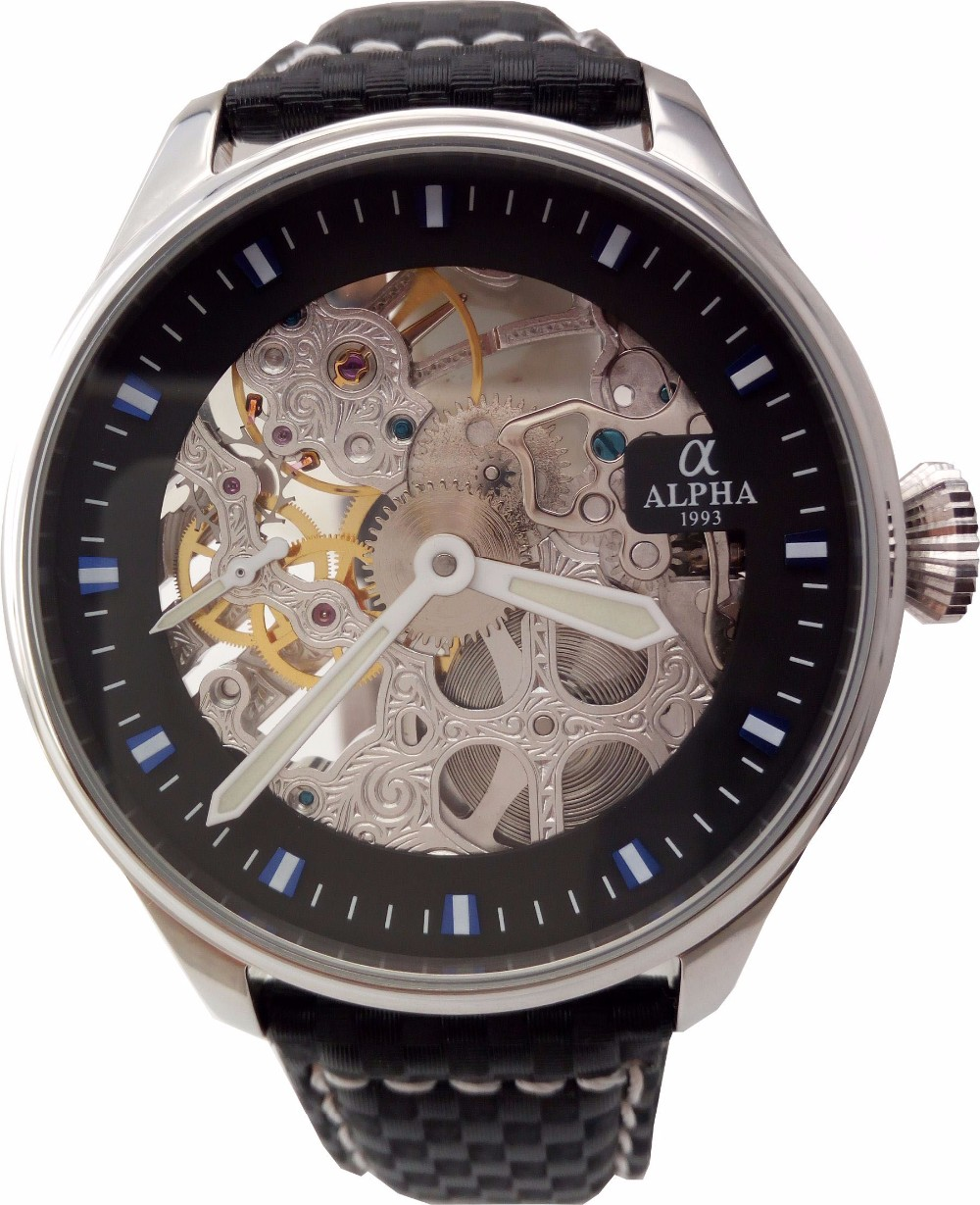 vintage style skeleton mechanical watch