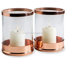 metal & glass copper finished tea light candle holder