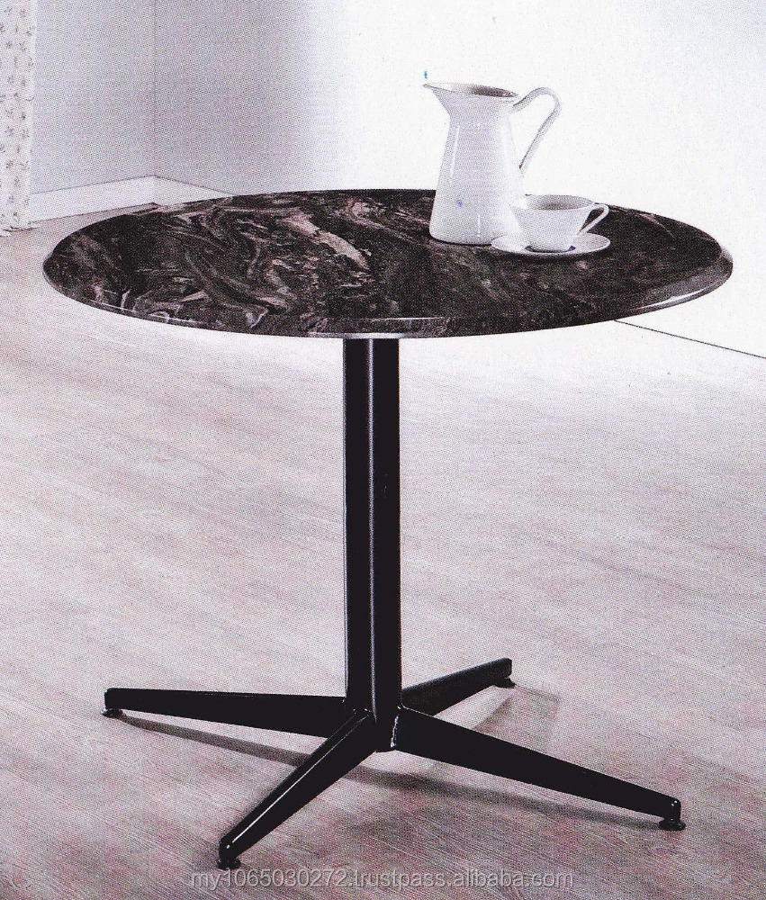 3'ROUND BLACK NATURE MARBLE TOP & METAL TABLE LEG