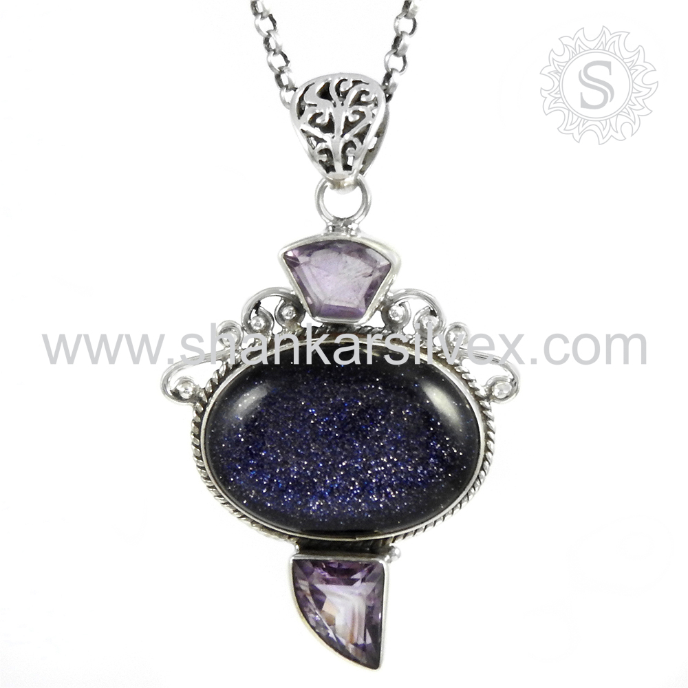 Gleaming Multi Gems Pendant Sterling 925 Silver Jewelry Wholesale Gemstone Silver Pendant Jewelry