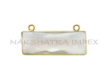 Crystal Quartz 10x30mm Rectangle Briolette 925 Sterling Silver Gold Plated Bezel Double Bail Pendant