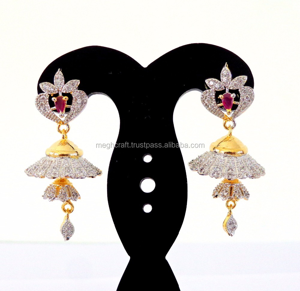 Indian Traditional Look CZ Jhumka Earring-American Diamond Jewellery-American Diamond Earrings-Wholesale CZ Jhumka Earrings