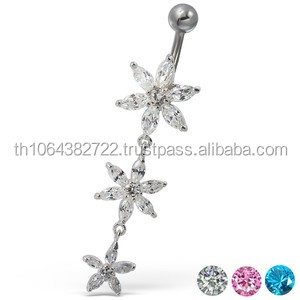 Dangle Chain Flowers Cubic Zirconia Sterling 925 Silver Belly Button Ring 14 gauge Piercing Surgical Steel Banana Navel Ring