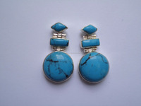 Round shape Turquoise Earrings With three stones Sterling Silver 925