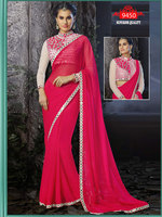 Indian Model Pink Georgette Designer Saree Blouse Designs