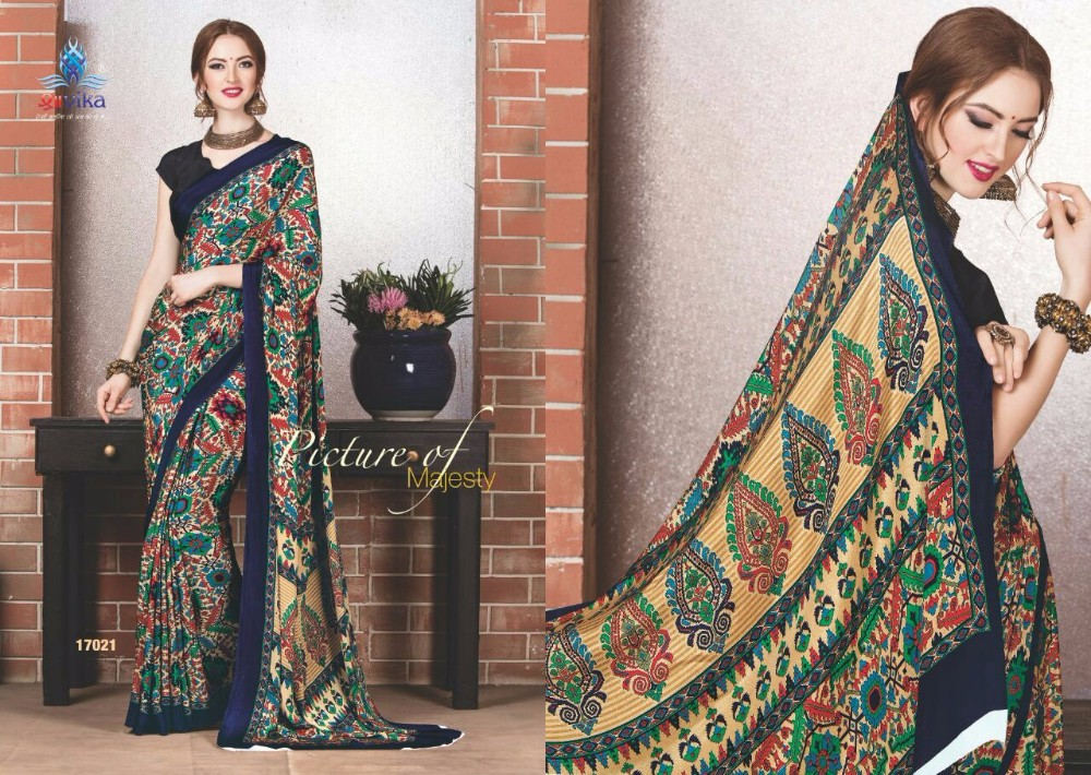 pure crepe unstitched printed work saree with blouse