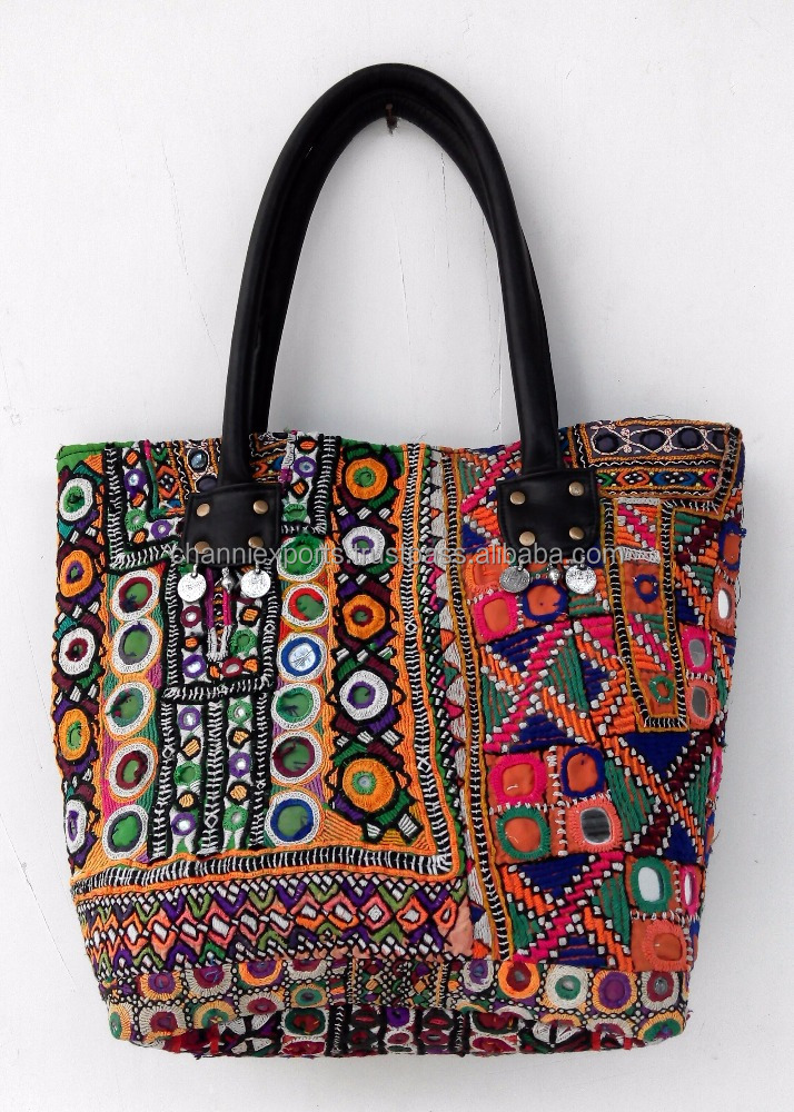 Multicolor beautiful hand embroidery banjara handbags from Jaipur India Ibiza style bags