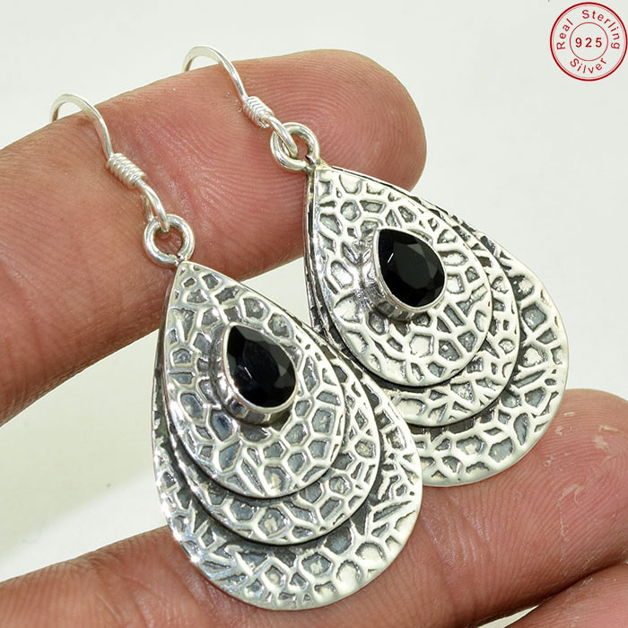 Great Artisan Gemstone Jewelry Black Onyx Earring Handmade 925 Silver Earring Jewelry Online Silver Jewelry