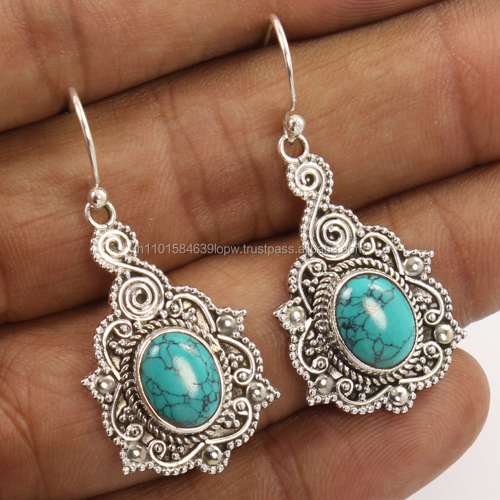 "TURQUOISE (S) Gemstones L-41mm 1 5/8"" 925 Sterling Silver Vintage Style Earrings"
