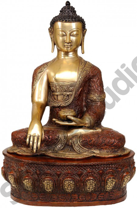 Robes Decorated Symbols And Carvings Large Size Sitting Buddha 22""