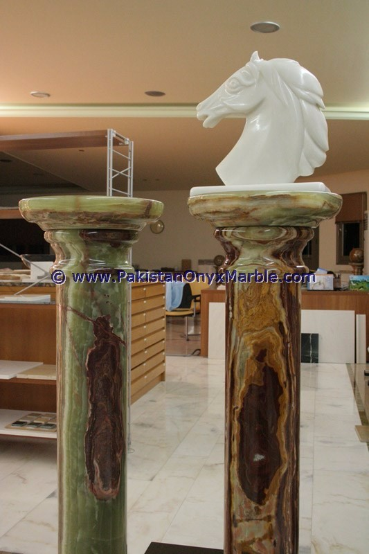DECORATIVE EXPORT QUALITY GREEN ONYX COLUMNS PILLARS CARVED TOP FOR EXTERIOR