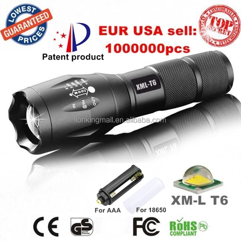 Wholesale E17/A100 XML T6 led 2000Lm Tactical Zoom LED Flashlight Torch light for 3xAAA or 18650 rechargeable battery- G700