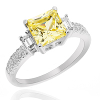 Ladies Rhodium Plated 925 Sterling Silver Ring with 1.96Ct. (Compare to Diamond) Yellow Princess Cut Premium Cubic Zirconia