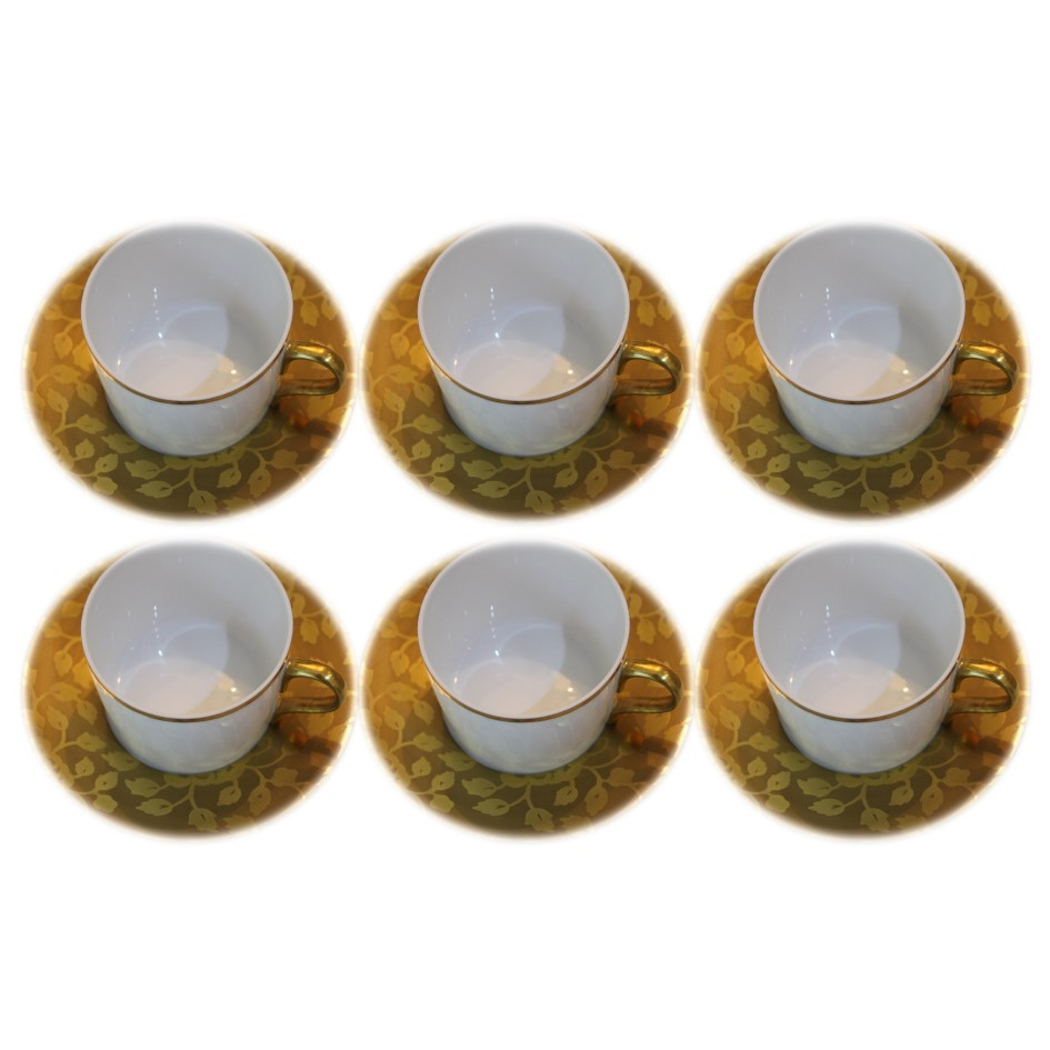Set of 6 tea cups and saucers CHARDONS PROVENCE GOLD