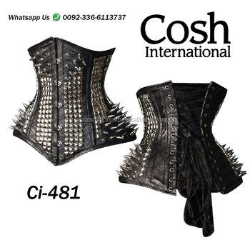 COSH INTERNATIONAL : Ci-481 Underbust Black Fetish Extreme Curvy Leather Corset Supplier
