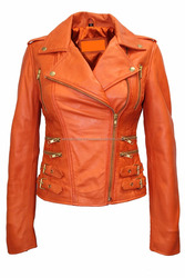 Ladies Orange Biker Style Motorcycle Designer Leather Jacket