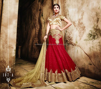 Red Net Lehenga Choli With Heavy Embroidery Work