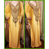 cheap heavy beaded kaftan glamour maxi dress abaya jalabiya long sleeve maxi dress 2016 dubai style