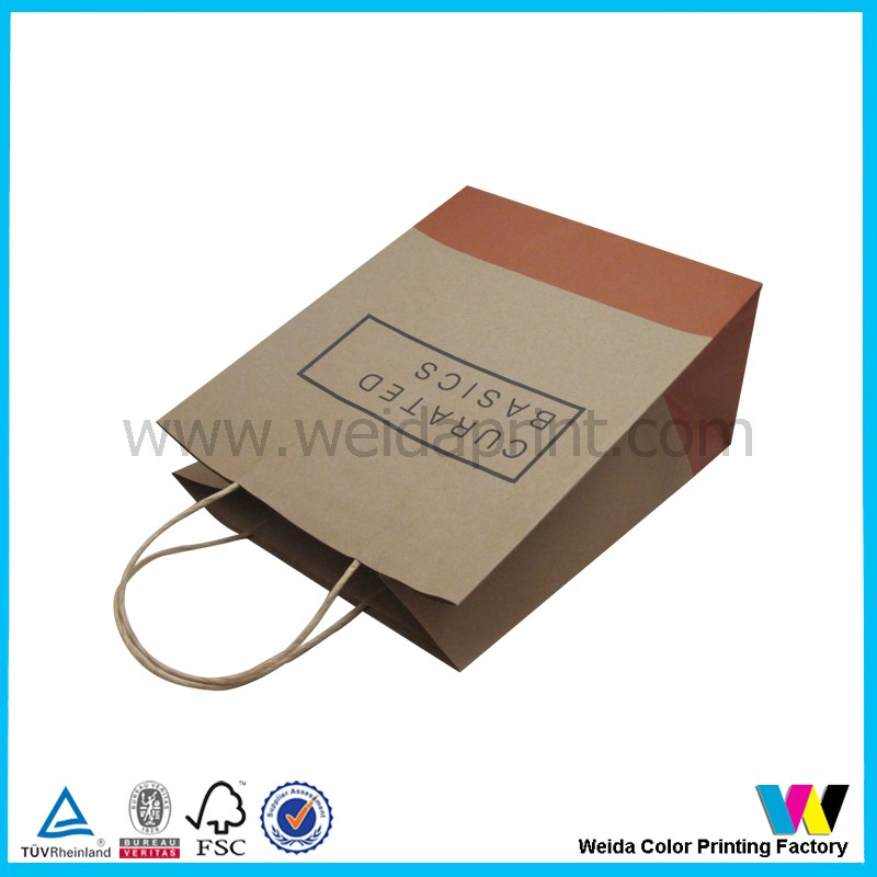 wholesale custom kraft paper bag with logo print