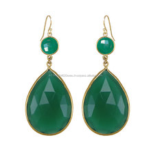 Two Stone Beautiful Green Earring Onyx Gemstone handmade Making Earring Night Wear Awesome Jewelry