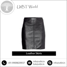 Skin Friendly Tight Leather Mini Skirt Available from Renowned Dealer