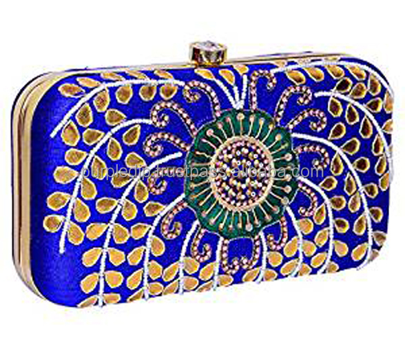 Women's Clutch Purse with Traditional Indian Embroidery in Peacock Colours to Carry Money, Cards, Mobile Phone (10481)