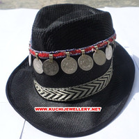 Embroided ATS cowry bohemian gypsy kuchi cow boy hat mu