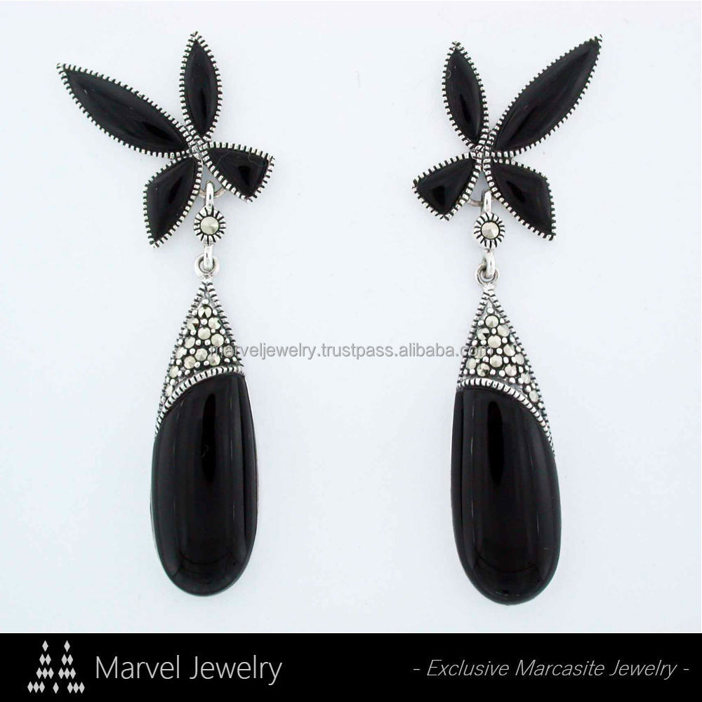 925 Sterling Silver Thailand Marcasite Earrings Jewelry with Onyx Black Agate