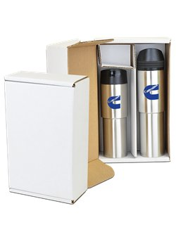 Full Color Print Tower Stainless Steel Copper Tumbler Gift Set - white gift box, vacuum insulated and comes with your logo