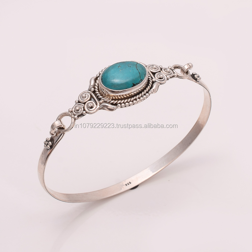 925 SOLID STERLING FINE SILVER HANDWORK NEPALI TURQUOISE BANGLE