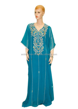 Full Length Stone Worked Jalabiya with V-neck