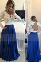 2016 Scoop Prom Dresses A Line Chiffon With Applique Sweep Train Dark Royal Blue