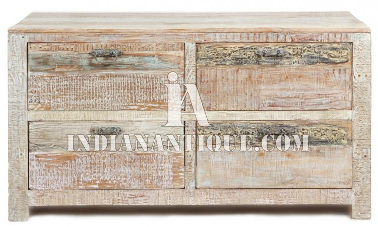 SOLID WOODEN FURNITURE DISTRESSED FINISH HAND PAINTED DRAWER CABINET HANDICRAFT FURNITURE FROM JODHPUR IA-DIS-168