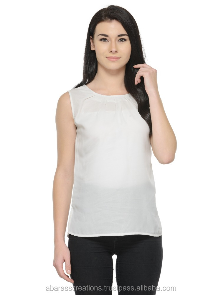 New Style Women Tops Design Latest White Color Blouse