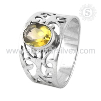 Comeliness Yellow Citrine Ring 925 Silver Jewelry Gemstone Silver Jewelry Wholesale