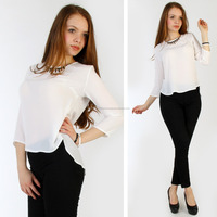 2013 women trendy chiffon tops Comfy ladies Chiffon top loose Women Blouse Solid Color half sleeve