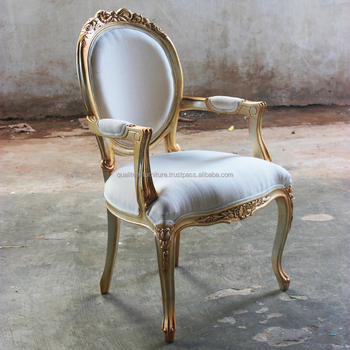 Upholstered dining chairs with arms antique style mahogany wooden gilded finish