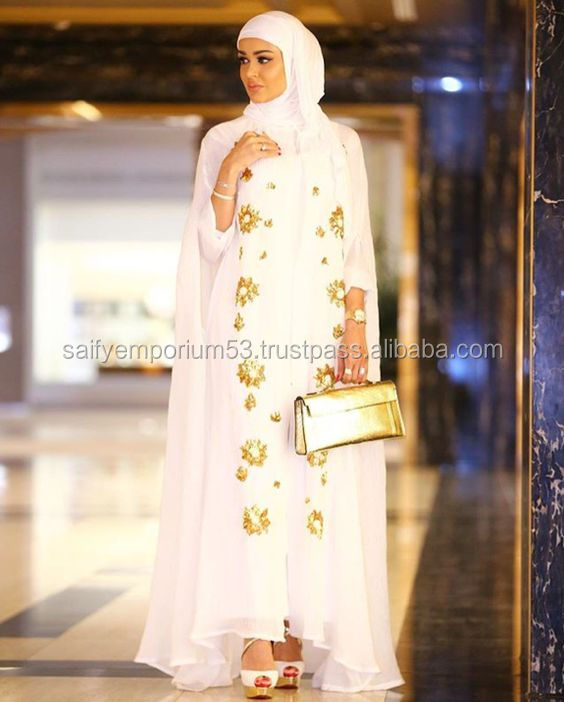 Off White Colour With Golden Hand Work Beautifull Abaya