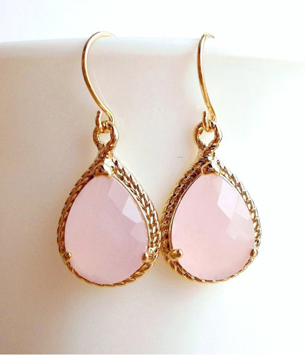 Opal Pink Crystal Dangle Earrings - Gold Plated Light Blush Pink Small Teardrop