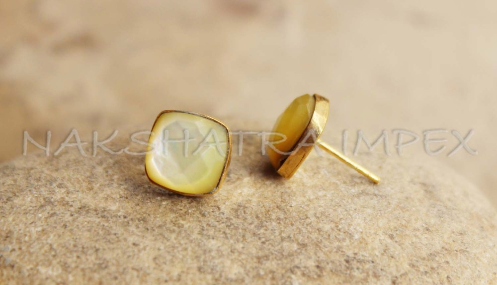 Mother Of Pearl 10mm Square Faceted 925 Sterling Silver Gold Plated Smooth Finish Stud Earring