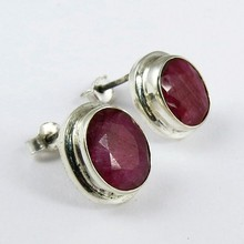 Amazing Dyed Ruby Gemstone Oval Shape 925 Sterling Silver Earring, Fashion Silver Jewelry, 925 Stering Silver Jewelry