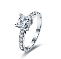 1.6 carat Princess Cut Engagement Ring Set With Top Cubic Zircon Plated Gold Wholesale Jewelry