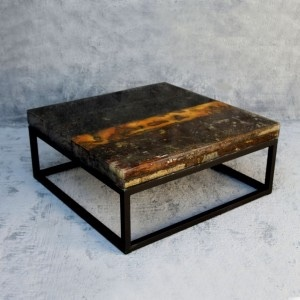 Center table Reclaimed Wood with Clear Cast Topping
