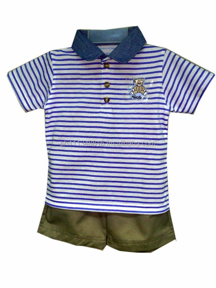 Infant Baby Boy Clothes - Boys 2pc Short Set Blue Stripes w/Chambray Collar & Kid Basix Bear w/Khaki Twill Shorts