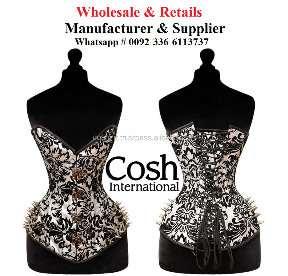 CORSET WHOLESALE : Ci-010 Overbust Black And White Brocade Fetish Corset With Mattel Hard wear
