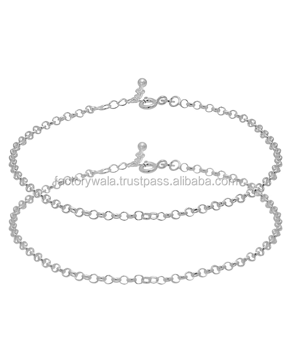 CHAIN DESIGN STERLING SILVER ANKLETS