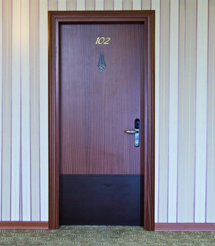 High Quality 30-60-90 Minutes Fire Resistant Mahogany Finished Wooden Door