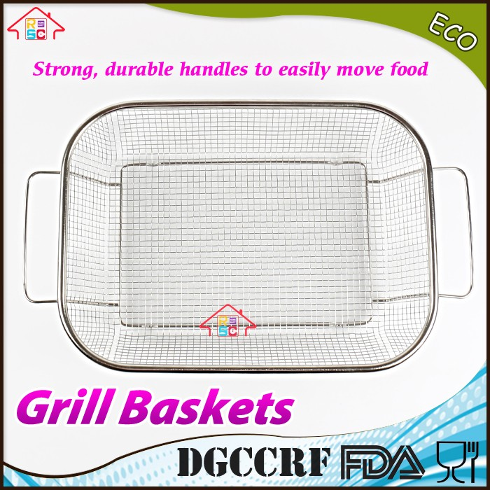TOP & HOT SELL Stainless Steel Non Stick Square BBQ Vegetable and Grill Basket Roasting Pan