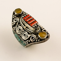 Natural Turquoise Coral Gemstone Ring, Tibetan Silver Nepali Antique Ring, Spanish Jewelry