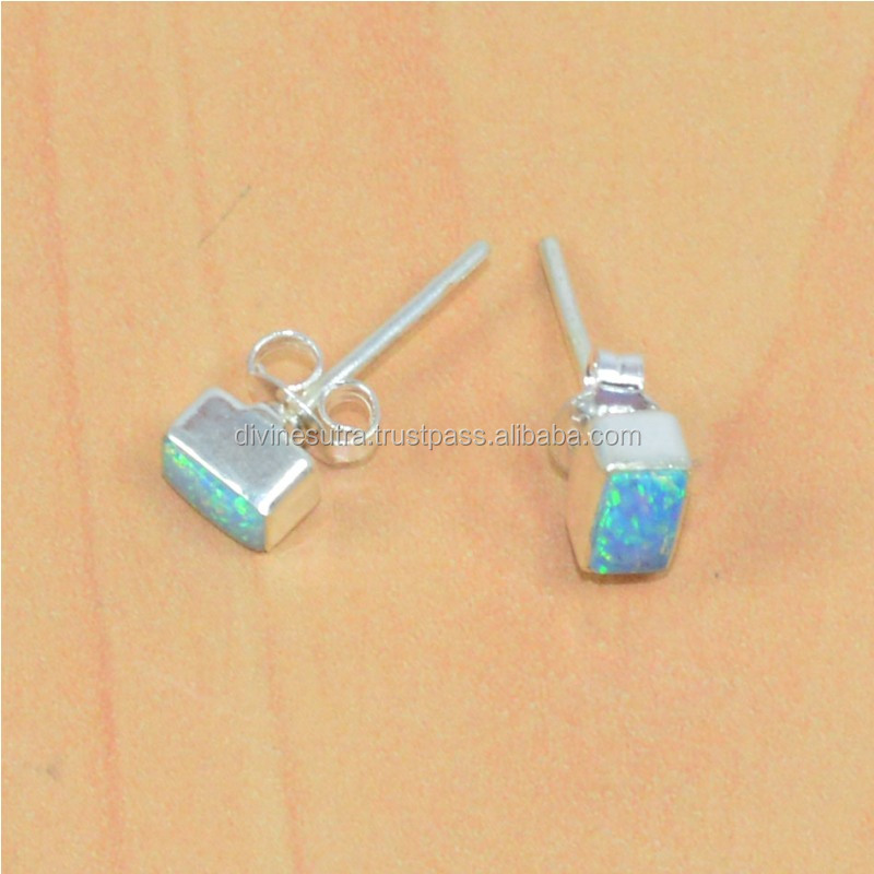 925 Solid Sterling Silver blue ethiopian opal Women Accessories stud hook Earring